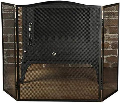 暖炉スクリーン 3-パネル 金属 アーチファイアスクリーン 暖炉用 クラシックスタイルで、 折り畳まれた 暖炉スクリーン スパークガード 直火/木製バーナー/ガス火災用