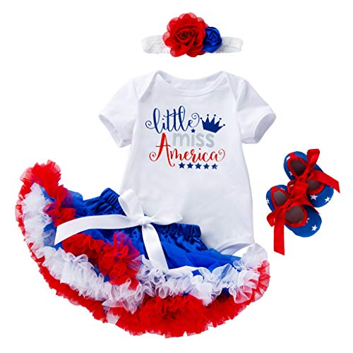 - perfectCOCO 4th of July Baby Girl Outfit Tutu Dress American Flag Bodysuit Tutu Lace Skirt Set White