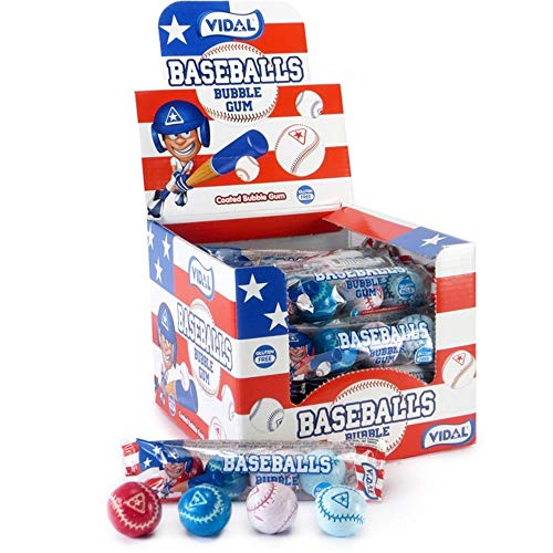 - Vidals Red, White and Blue Baseball Bubble Gum Balls, Pack of 96
