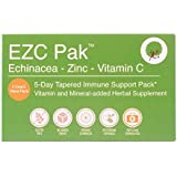 EZC Pak 5 Day Immune Support Boost For Cold and Flu - 2 Pack - Echinacea, Zinc and Vitamin C, Physician Designed 5 Day Tapered Pack