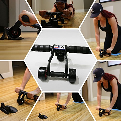 ★FREE SHIPPING★3 Wheel Ab Roller Machine With Knee Mat For
