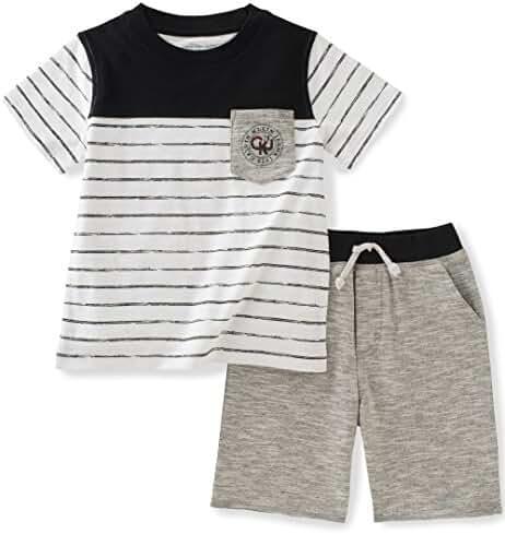 Calvin Klein Baby Boys' 2 Pieces Tee Set-Marled Shorts, Black