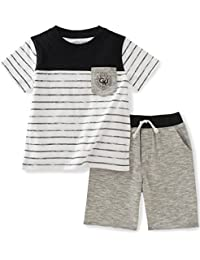 Calvin Klein Baby Boys' 2 Pieces Tee Set-Marled Shorts, Black