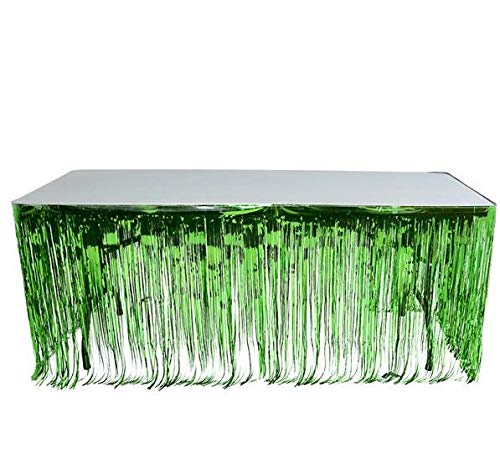 Rhode Island Novelty Green Metallic Foil Fringe Table Skirt 144