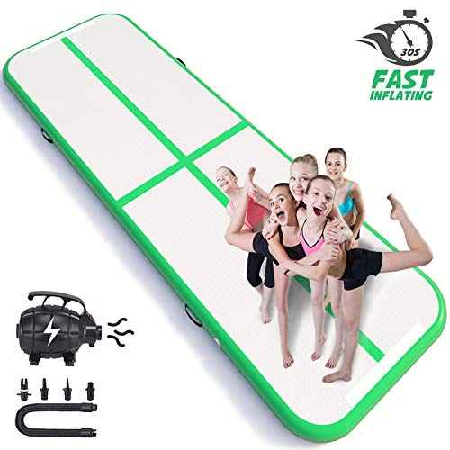 Happybuy 10ft/13ft/17ft/20ft/23ft/26ft/33ft Air Track 8in Thick Tumbling Mat Inflatable Gymnastics Airtrack for Home Use/Cheerleading/Yoga/Parkour/Water with Pump (Green(40x4in), 10ft)