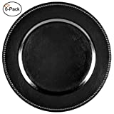 Tiger Chef 13-inch Black Round Beaded Charger Plates Dinner Chargers (6-Pack)