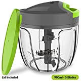 Home Puff 5 Blades Vegetable Chopper, Cutter with Storage Lid (900ml)