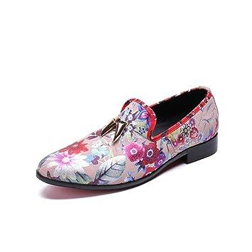 Hy Zapatos Casuales para Hombres, Zapatos de Vestir, Mocasines con Estampado de Cuero de