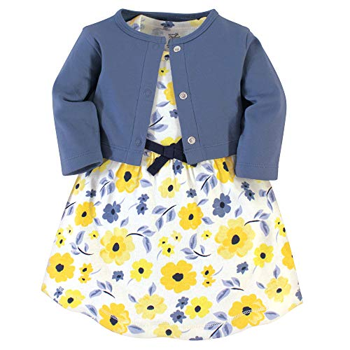 Touched by Nature Girl Organic Cotton Cardigan and Dress, Yellow Garden 2-Piece, 4 Toddler (4T)
