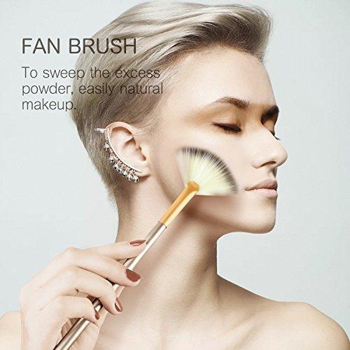 Mint Bear 12Pcs Professional Makeup Brush Set, Premium Synthetic Kabuki Face Eyeshadow Eyeliner Foundation Blush Lip Makeup Brushes Powder Liquid Cream Cosmetic Brushes Kit with Bag