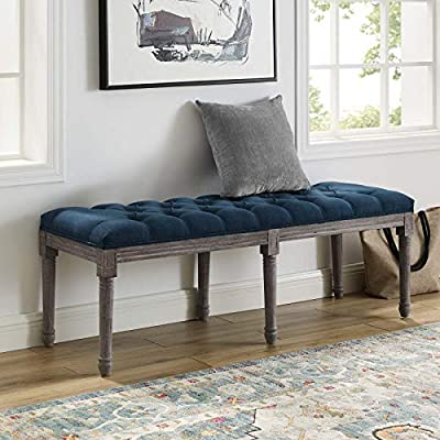 Modway Province French Vintage Performance Velvet Entryway Bench in Navy - VINTAGE BENCH - Make a chic statement with chiseled artisan detail and vintage French elegance. Province is an ideal choice for extra seating in the entryway, bedroom, hallway, living or dining room SUPERIOR CONSTRUCTION - Built sturdy, this upholstered bench grants a premium seating experience. With a padded foam seat, Province features a carved solid wood frame and legs with a weathered finish VELVET UPHOLSTERY - Upholstered in performance velvet made from stain-resistant polyester fabric, this accent bench adds distinction in any home with luxurious texture and classic button-tufted detail - entryway-furniture-decor, entryway-laundry-room, benches - 51rBNTTmUZL. SS400  -