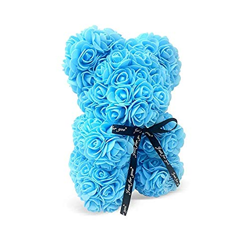 Blue Rose Bear | Rose Teddy Bear | A Perfect Gift for Anniversary, Baby Shower, Birthdays, and Special Events by Decor & Co (Blue, 10
