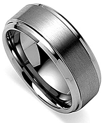 King Will Men's Tungsten 8mm Polished Beveled Edge Matte Brushed Finish Center Ring