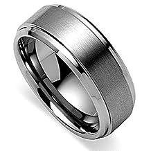 King Will BASIC Men's Tungsten Carbide Ring 8mm Polished Beveled Edge Matte Brushed Finish Center Wedding Band