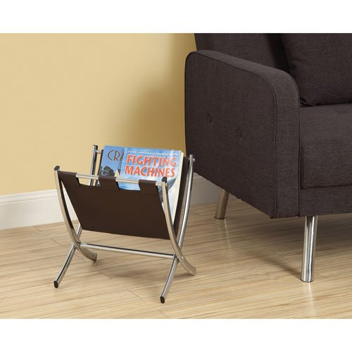 Hawthorne Ave Magazine Rack - Dark Brown Leather-Look / Chrome Metal