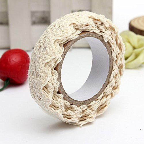 SYG(TM)Rouleau Ruban Dentelle Décoratif Adhésif Autocollant Galon Cadeau Masking Tape artisanat 1.7m Tissu en coton beige SYG_FR Co. LTD
