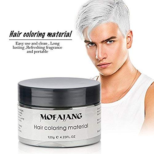 MOFAJANG Unisex Hair Color Dye Wax Styling Cream Mud, Natural Hairstyle Pomade, Temporary Hair Dye Wax for Party, Cosplay & Halloween, 4.23 oz (White) -
