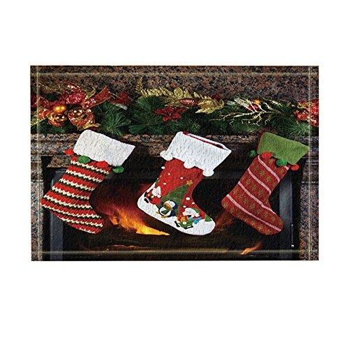 KOTOM NYMB Xmas Decor, Christmas Socks on Fireplace Gift to Kids Bath Rugs, Non-Slip Doormat Floor Entryways Indoor Front Door Mat, Kids Bath Mat, 15.7x23.6in, Bathroom Accessories by KOTOM