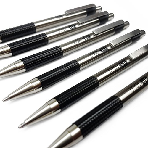 - Zebra F-301 - Stainless Steel Retractable Ballpoint Pen - Medium - Black Ink - Pack of 6
