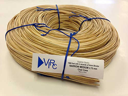 Chair Cane Narrow Medium 2.75mm 1000 ft coil with 4 strands of 4mm Binder Cane Cane Coil