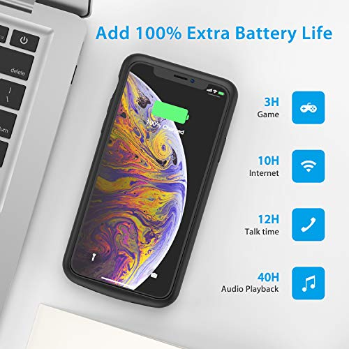 Battery Case for iPhone X/XS, 4000mAh Ultra Slim Protective Charging Case Rechargeable Extended Battery Pack for 5.8 inch iPhone X/XS (Black) by Swaller (Image #1)