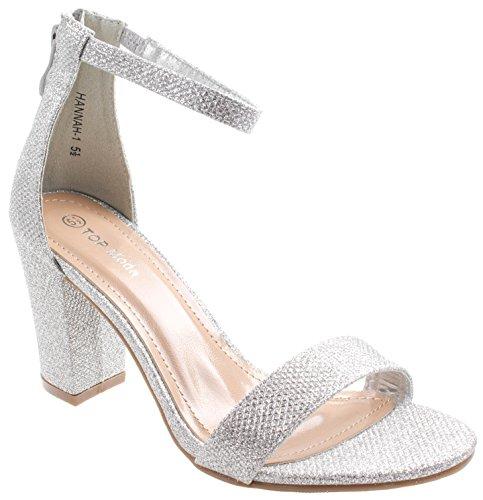TOP Moda Women's Hannah-1 Ankle Strap High Heel Sandal (5 M US, Silver)