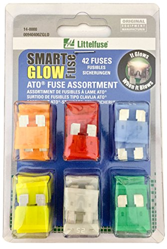 Littelfuse 00940400ZGLO Smart Glow Blade Style Assorted Multi-Pack Fuse - 42 Piece by Littelfuse