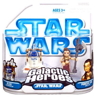 Star Wars Galactic Heroes Mini Figure 2Pack R2D2 with Serving Tray Princess Leia Jabbas Slave (Jabba And Leia)