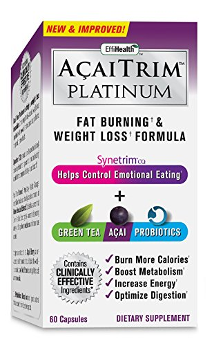 Herbal Appetite Suppressants - Acai Trim Platinum- Weight Loss Supplement, Appetite Suppressant, & Energy Booster- Natural Fat Burning Supplement With Synetrim CQ, Acai, Green Tea Extract & Probiotics- For Men & Women