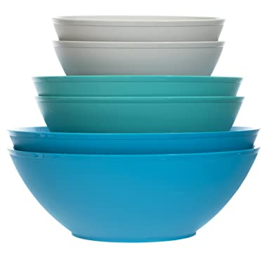 Fresco Plastic Mixing and Serving Bowls | 12-inch 10-inch 8-inch | 6-piece set Coastal