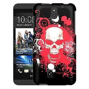 HTC Desire 610 Case, Slim Snap On Cover Red Skull on Black Case