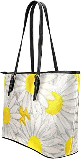 Oxeye Daisy Floral Beautiful Flower Large Soft Leather Portable Top Handle Hand Totes Bags Causal Handbags With Zipper Shoulder Shopping Purse Luggage Organizer For Lady Girls Womens Work