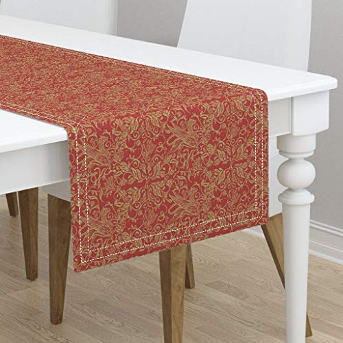 Table Runner - Medieval Griffon Beast Griffin Legend Celtic R Gold Deep Red Paprika by Wren Leyland - Cotton Sateen Table Runner 16 x -