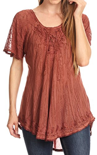 Boho Peasant Top Blouse - Sakkas 787New - Zoya Marbled Embroidery Cap Sleeves Blouse / Top - Brown - OSP