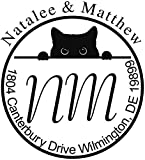 Black Cat Monogram Custom Return Address Stamp - Self Inking. Personalized rubber stamp with lines of text (A3053)