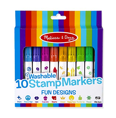 Melissa & Doug 10 Washable Stamp Markers - Fun Designs