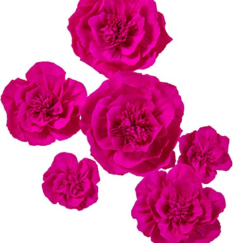 Hot Pink Roses - Ling's moment Crepe Paper Flowers, 6 X Rose Handcrafted Flowers(8''-6'' Assorted), Paper Flower Decorations for Nursery Wall Display Wedding Anniversary Baby Shower