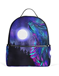 JSTEL Tree Wolf Moon Night School Backpacks for Boys Girls Bookbag