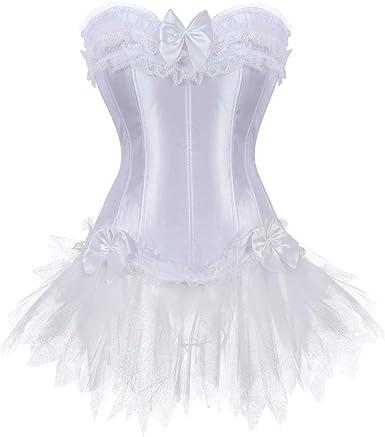 JL Corset – Corsé Burlesque para Mujer + tutú Petticoat Falda ...