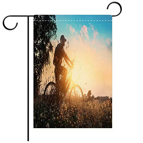 BEICICI Garden Flag Double-Sided Printing, Double Sided Biker on Mountain Bike Adventure in Beautiful Flowers Nature Best for Party Yard and Home Outdoor Decor