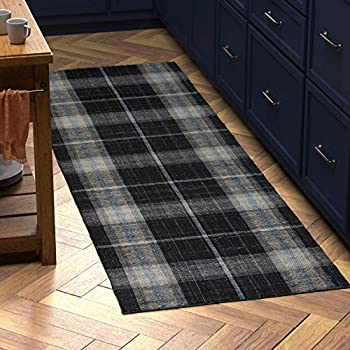 stone beam casual plaid rug 2 39 6 x 8 39 flatweave black gray white kitchen. Black Bedroom Furniture Sets. Home Design Ideas