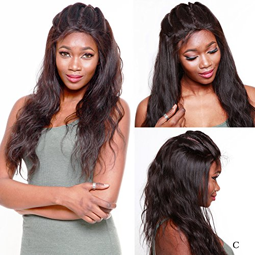 R&S Full Lace Human Hair Wigs Plus Density Increase 40% Especially Lifelike With Baby Hair 8A Quality Unprocessed Can be Arbitrarily Perm&Bleach the Wigs(Natural color Body Wave Hair 16 inch) ()