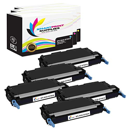 Smart Print Supplies Compatible 503A Toner Cartridge Replacement for HP Color Laserjet 3800, CP3505 Printers (Q6470A Black, Q7581A Cyan, Q7583A Magenta, Q7582A Yellow) - 5 Pack