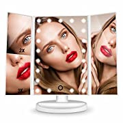 HAMSWAN Vanity Makeup Mirror Illuminated Trifold LED Mirror Foldable with Touch Screen 180 Degree Rotation 1X 2X 3X Magnifying Lighted Mirror for Home Beauty Improvement.