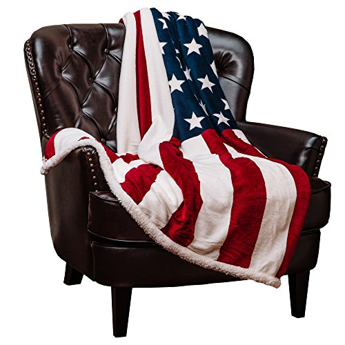 Chanasya Patriotic US Flag Print Fleece Sherpa Throw Blanket - Super Soft Ultra Plush Lightweight Microfiber Cozy Warm for Couch Bed Chair Office Sofa - Great Gift for Men Women House - 50 x 65 Inches ()