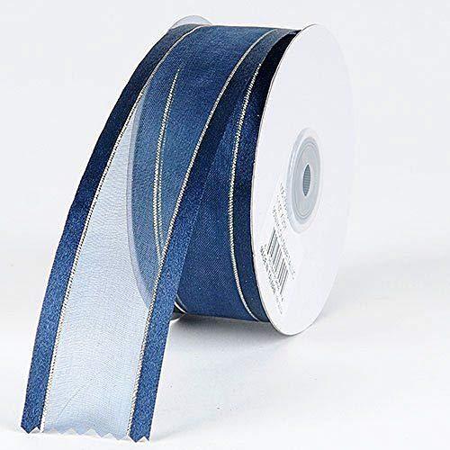 3/8'' Colors Navy Organza w/Metallic Gold Satin Edge Ribbon Gift Wrap Arts and Craft 25 Yards 3/8' Satin Edge Organza Ribbon