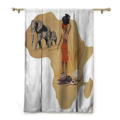 DONEECKL Room Dark Black Insulated Roman Blind Safari Decor Collection Illustration with Africa Map and Traditional Local Lady Savannah Ceremony Features Tribe Print Breathability W48 xL64 Multi