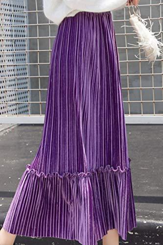 Plisse Rtro Femmes Volants Solide Violet Midi Jupes De Jupe Velours Automne 4xRqw