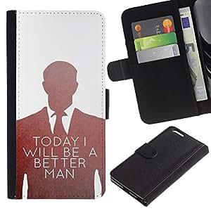 LASTONE PHONE CASE / Lujo Billetera de Cuero Caso del tirón Titular de la tarjeta Flip Carcasa Funda para Apple Iphone 6 PLUS 5.5 / Be Better Man Suit Vignette White