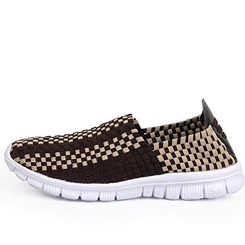 Splice Vamp atléticos Modelo Leisure Marrón de la Slip Tira los Hombres la On Zapatos de de Moda Sneaker 6Sq0UO